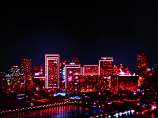 A whole city made with beautiful neon lights in the dark of the night.