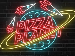 A really clever neon light sign for a place called Pizza Planet.