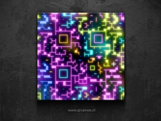 Art using a QR Code as a base to add some neon design to it by Leconte.
