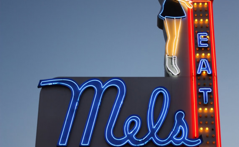 Another retro vintage neon sign for Mels Drive-In Celebrity Bar.