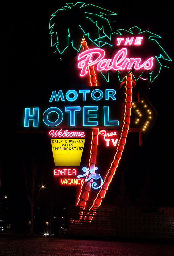Clever neon sign for The Palms Motor Motel, inspiration from signs seen in the street.