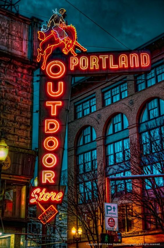 Neon sign for the Portland Outdoor Store on the corner of SW 3rd & Oak.