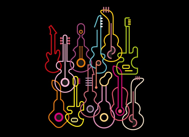 Funny shaped guitars in neon colors, idea inspiration for t-shirts.