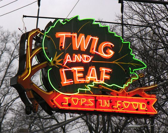 Simple yet clever neon sign for the Twig and Leaf diner.