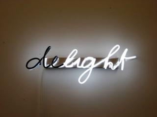 Delight neon sign Brigitte Kowanz