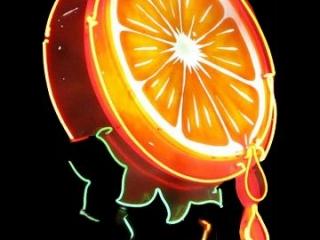 Orange juice neon sign