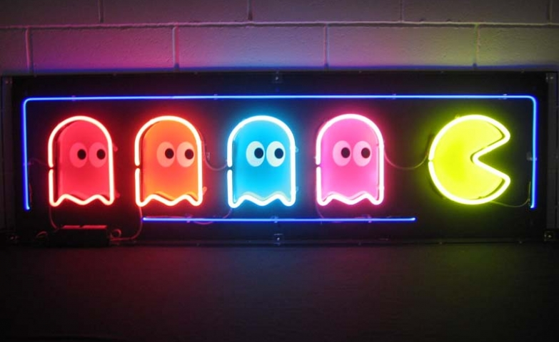 Pacman neon sign