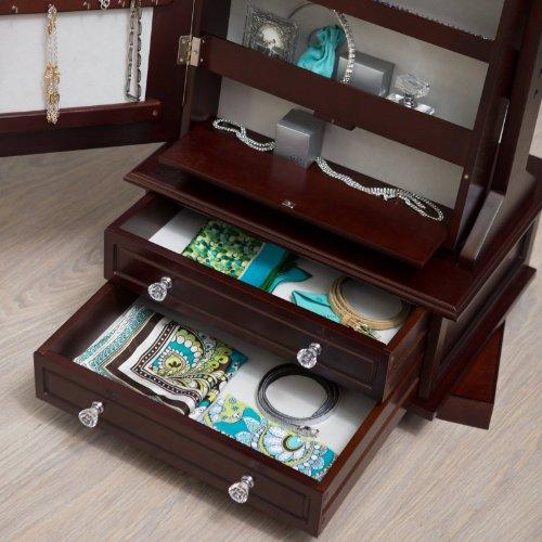 Belham Living Swivel Cheval Jewelry Armoire Cherry Zen