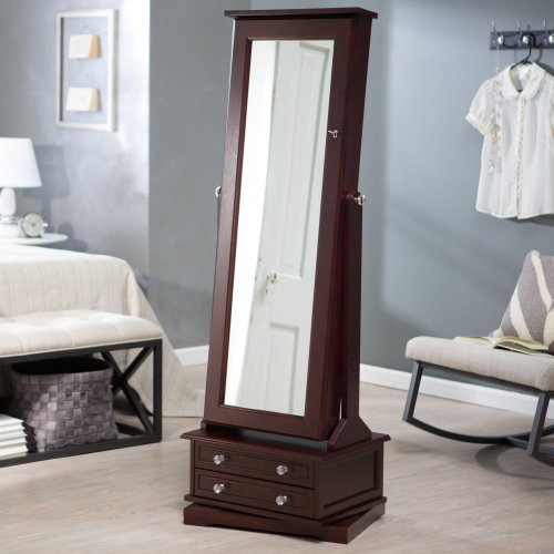 Belham Living Swivel Cheval Jewelry Armoire Cherry Zen Merchandiser