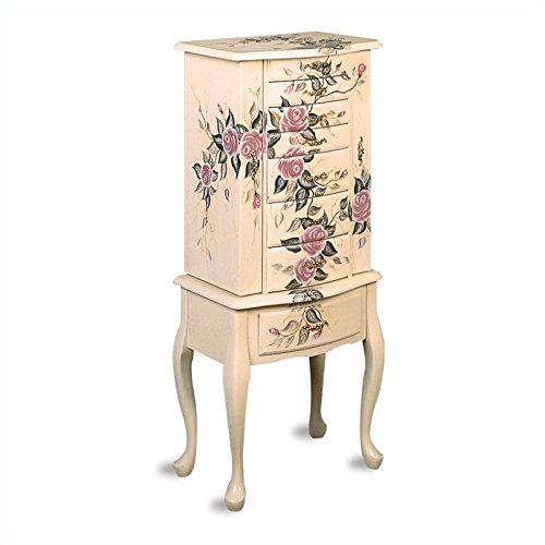 Coaster Jewelry Armoire Ivory Finish Wood with Hand Painted Roses