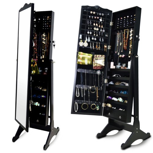Organizedlife Black Wood Jewelry Armoire Large Mirrored