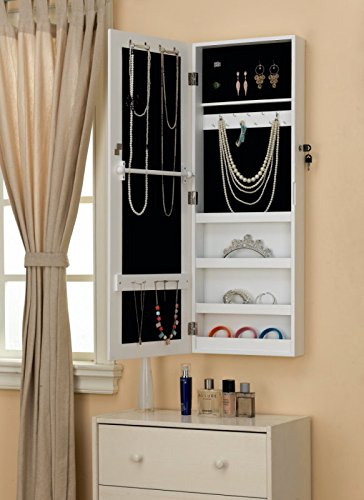 White WallDoorMount Mirrored Jewelry Cabinet Makeup Armoire