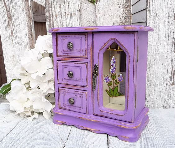 Purple distressed jewelry armoire