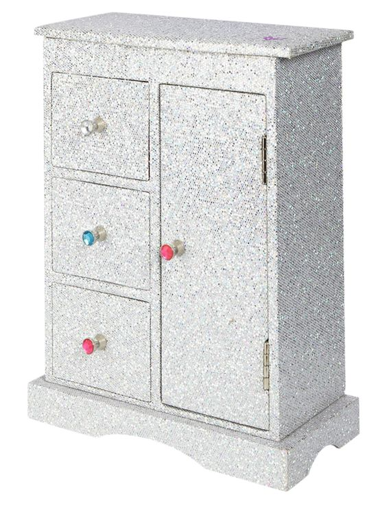 Glitter dresser top jewelry armoire