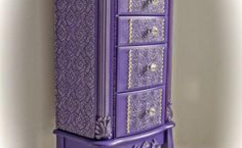 Purple vintage jewelry armoire