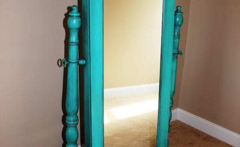 Floor standing turquoise distressed jewelry armoire