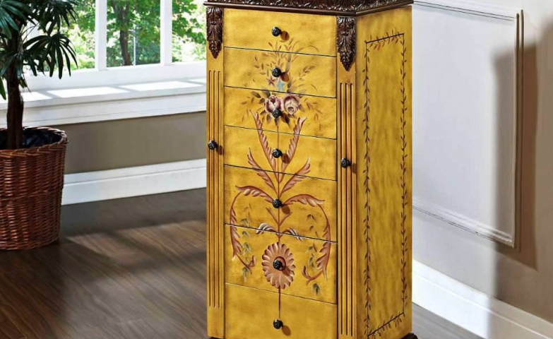 Hand painted ethnic jewelry armoire
