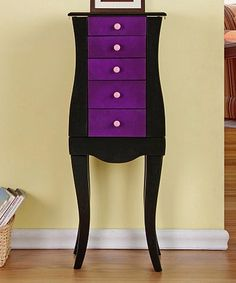 Black and purple jewelry armoire