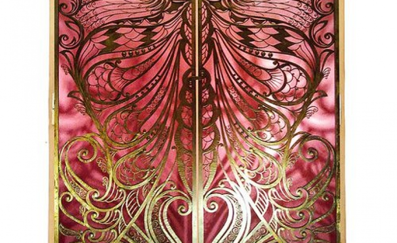 Pink and gold butterfly jewelry armoire