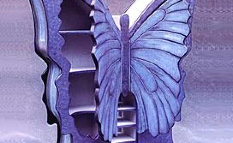 Purple butterfly jewelry armoire