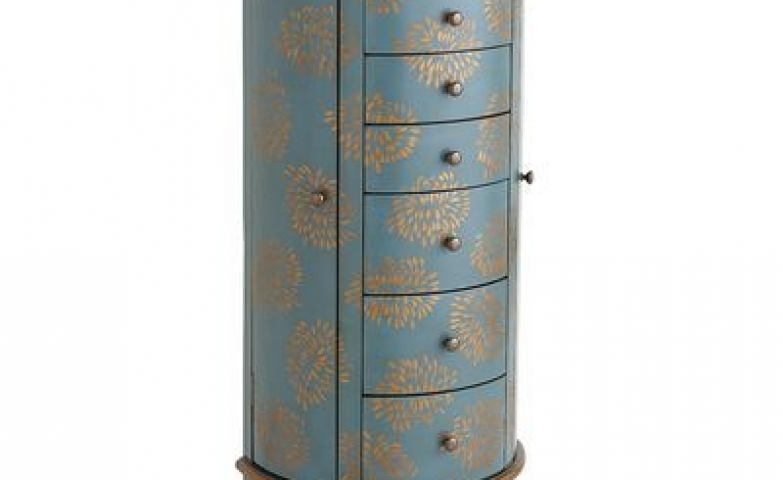 Blue and gold jewelry armoire