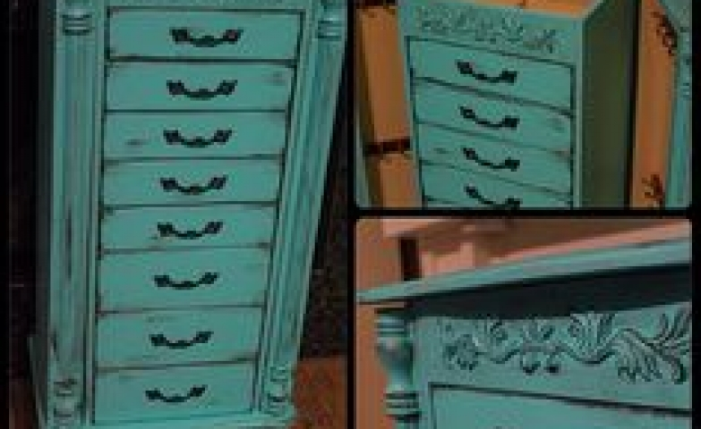 Vintage blue jewelry armoire