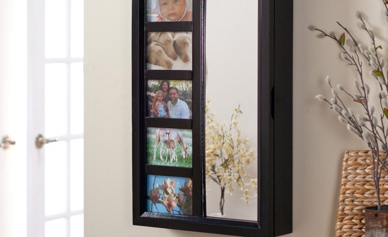 Wall mounted jewelry armoire