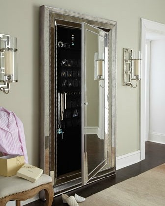Large mirrored jewelry armoire