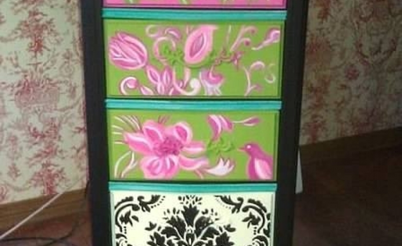 Indie hand painted jewelry armoire