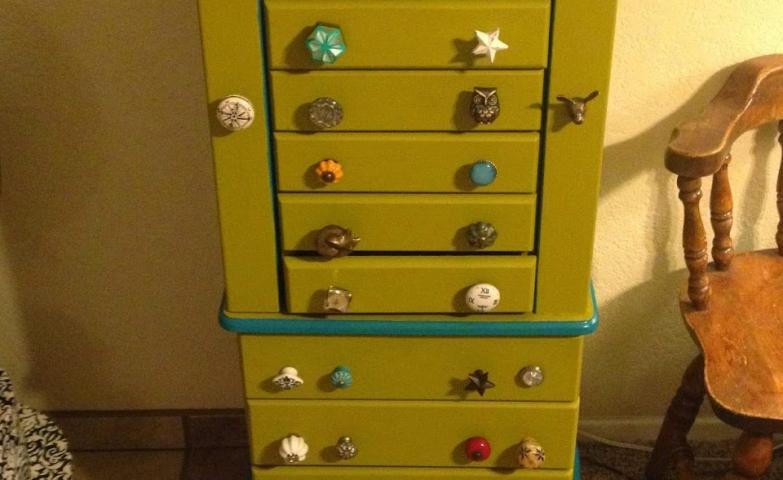 Custom knob jewelry armoire