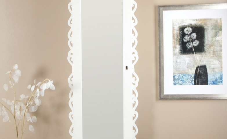 Oval white jewelry armoire