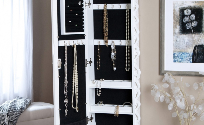Oval white jewelry armoire interior