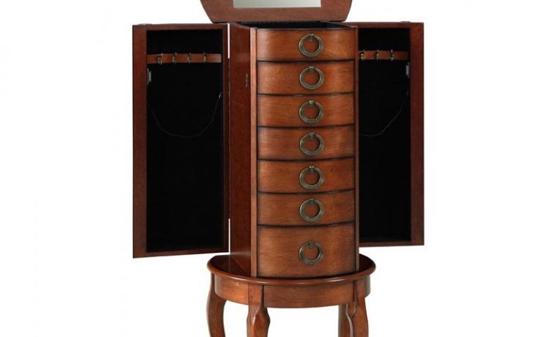 Round cherry jewelry armoire