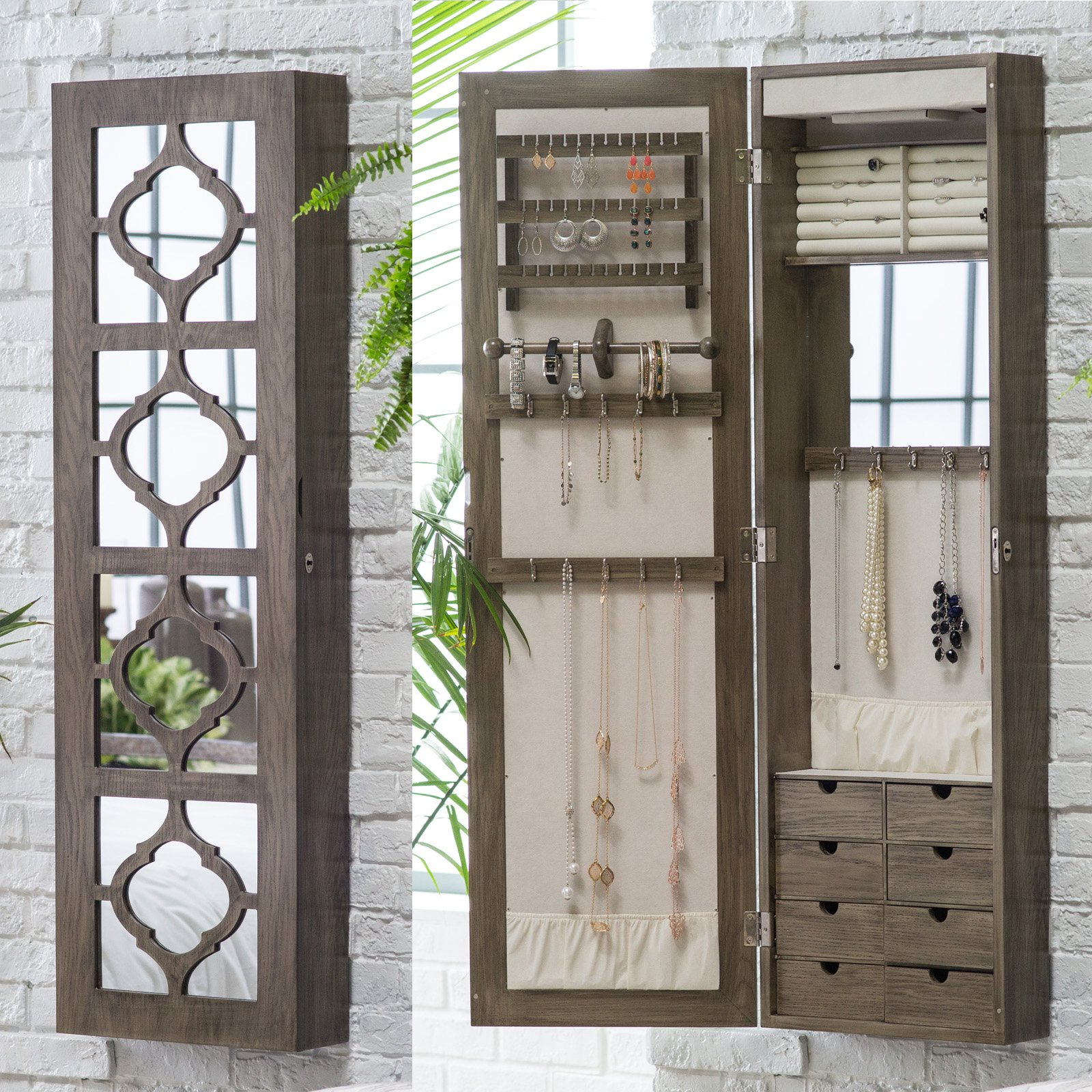 Gorgeous wall-mounted jewelry armoire with decorated mirror