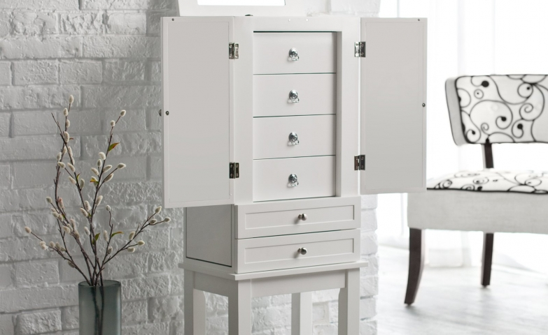 White jewelry armoire with hidden drawers.