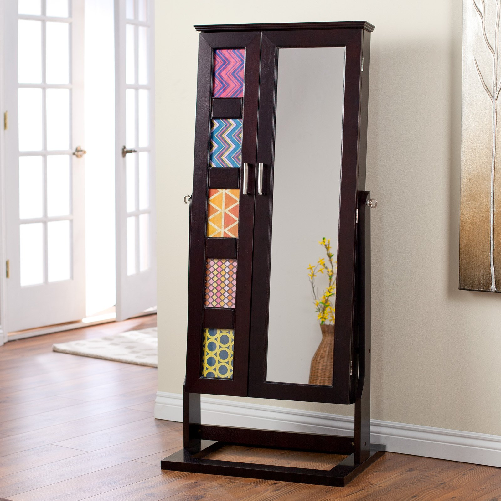 Espresso large jewelry armoire with frames and mirror