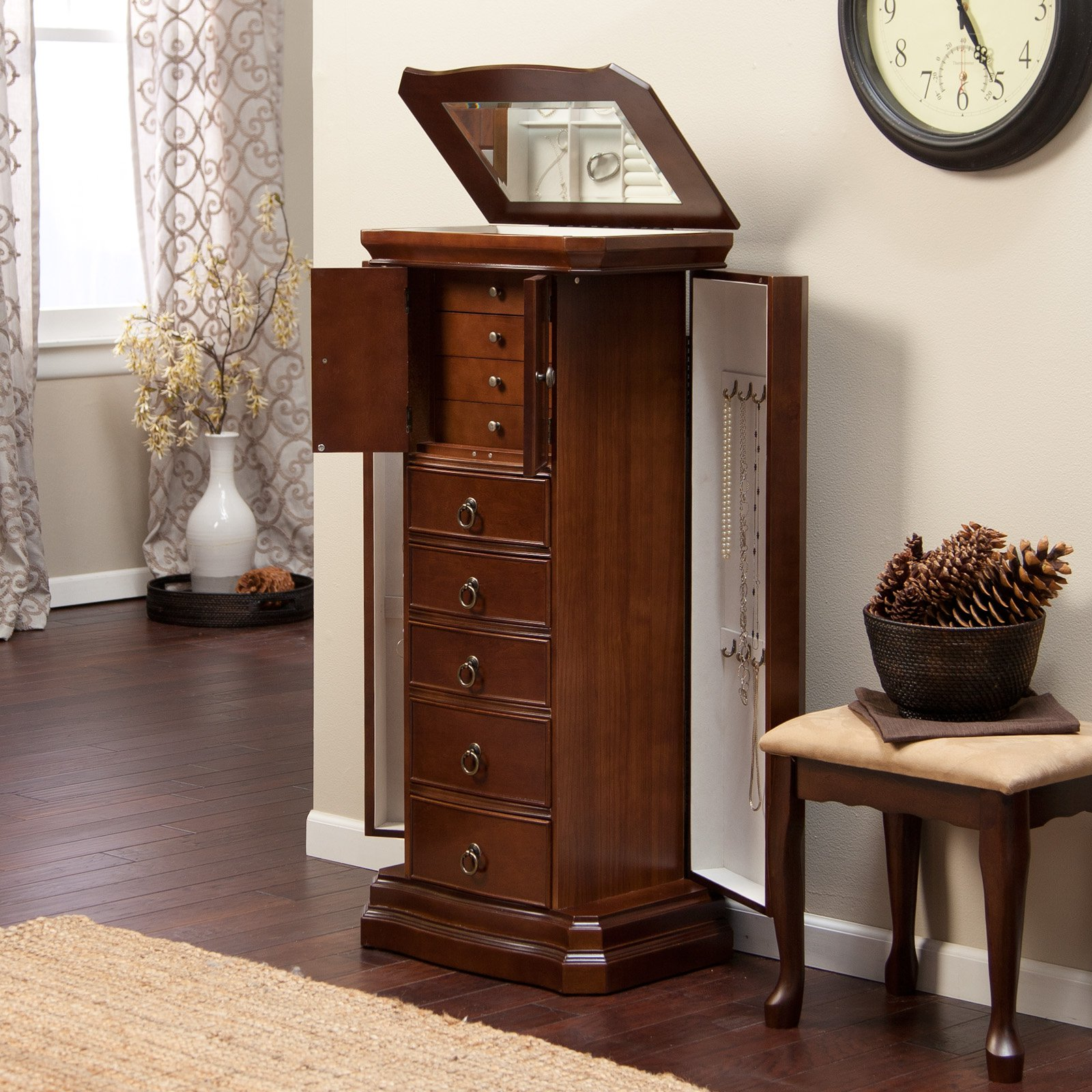 Traditional cherry floor standing jewelry armoire