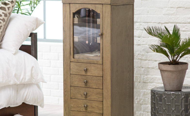 Fantastic natural jewelry armoire with necklace display