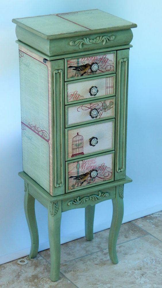 Green hand painted distressed jewely armoire