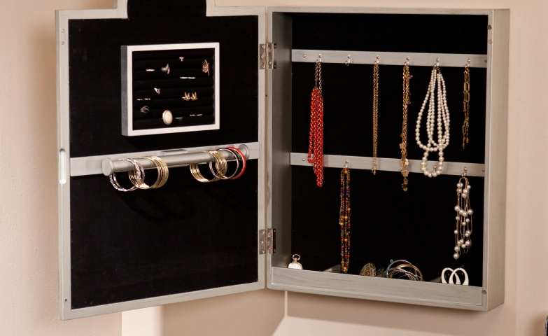 White wall mounted jewelry armoire