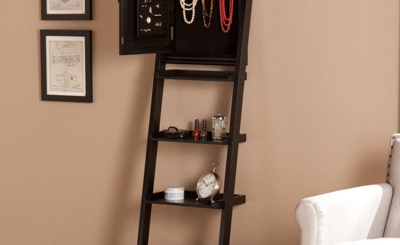 Small espresso jewelry armoire with shelves