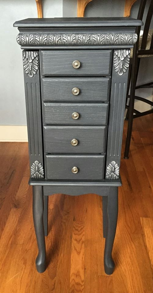 Floor standing graphite and silver jewelry armoire