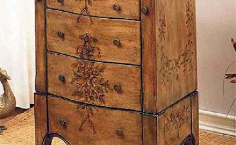 Cherry hand painted jewelry armoire