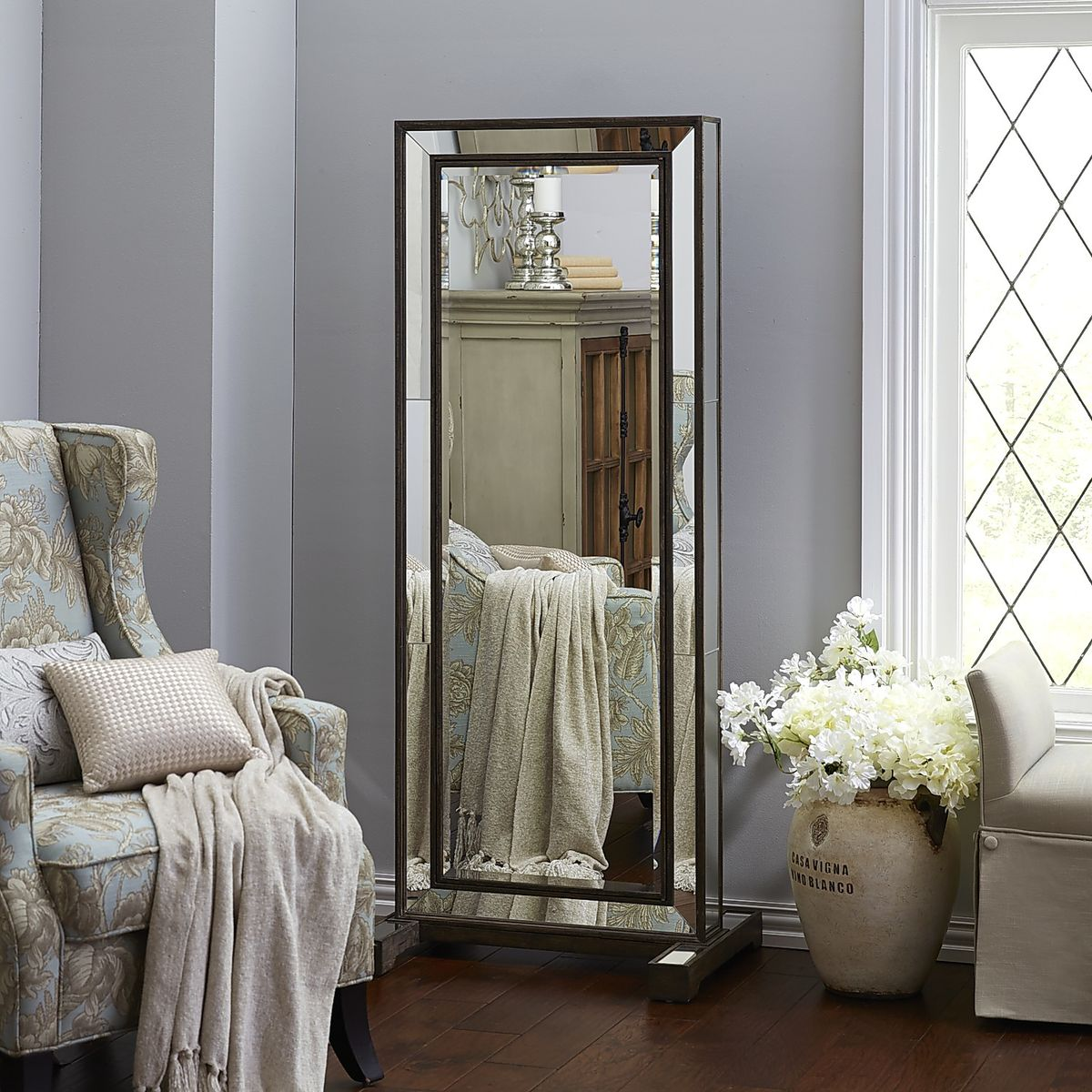 Free standing full length cheval mirror jewelry armoire