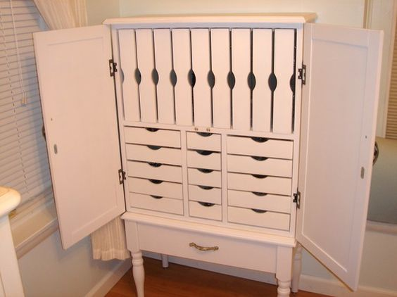 White Jewelry Armoire With Multiple Drawers