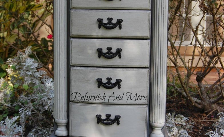 Two toned elegant grey jewelry armoire