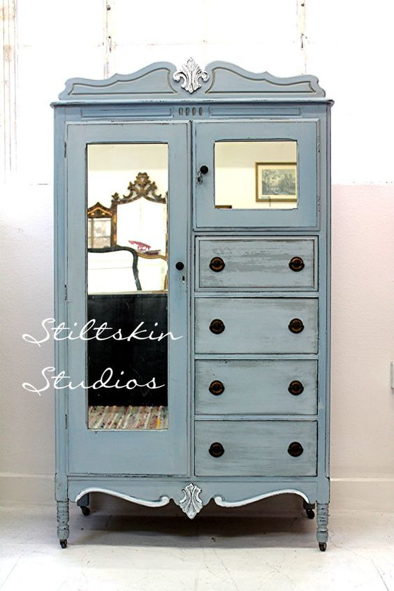 Light blue distressed vintage jewelry armoire