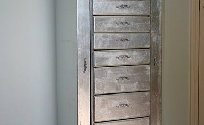 Charming silver distressed jewelry armoire