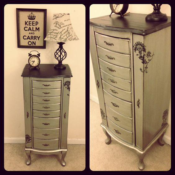 Black and silver elegant jewelry armoire