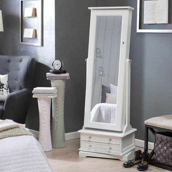 White cheval free standing jewelry armoire